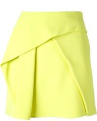 Yellow Pleated Mini Skirt