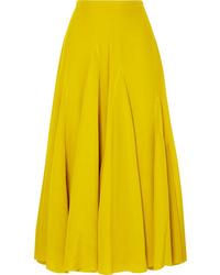 Haider Ackermann Pleated Silk De Chine Midi Skirt