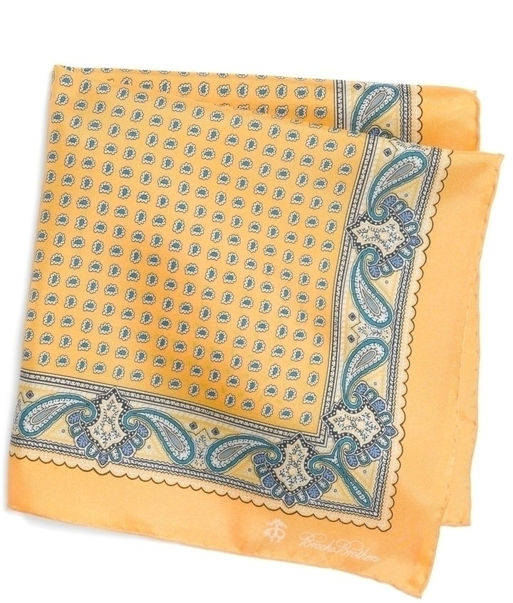 Brooks Brothers Paisley Pine Print Pocket Square