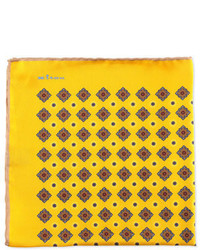 Kiton Diamond Neat Pocket Square With Solid Trim Yellow