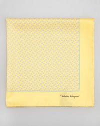 Salvatore Ferragamo Gancini Print Silk Pocket Square Yellow