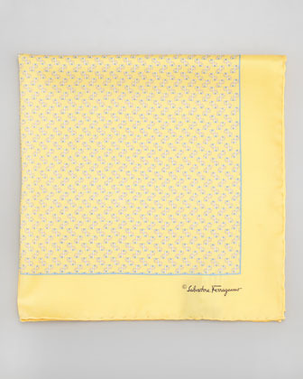 Salvatore Ferragamo Gancini Print Silk Pocket Square Yellow