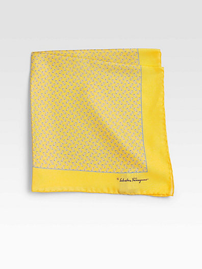 Salvatore Ferragamo Printed Silk Pocket Square