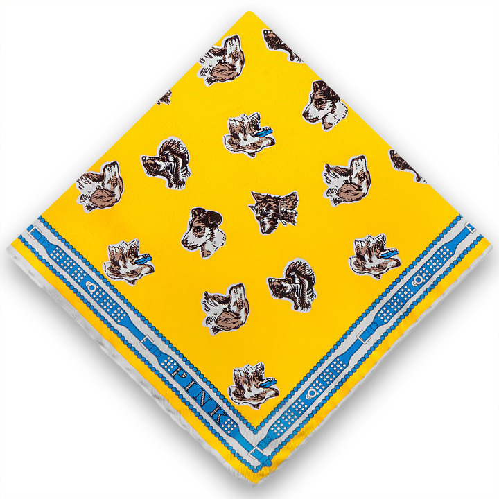 Thomas Pink Dog Head Pocket Square