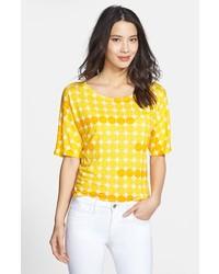 NYDJ Edie Dot Print Tee Sunflower Yellow Large