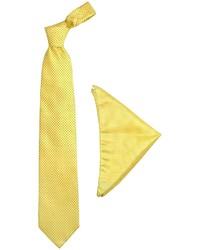 Yellow mini blue polkadot printed silk tie pocket square medium 321746
