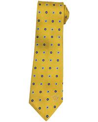 Versace Polka Dot Silk Tie Yellownavylight Blue