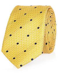 River Island Yellow Silk Polka Dot Tie