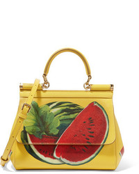Dolce & Gabbana Sicily Mini Printed Textured Leather Shoulder Bag Yellow