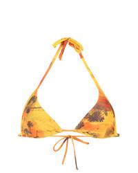 Yellow Print Bikini Top