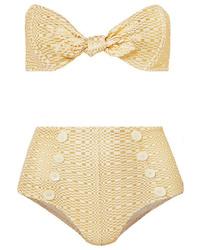 Lisa Marie Fernandez Poppy Knotted Metallic Seersucker Bikini