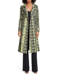 Helene Berman Snake Print Stretch Cotton Trench Coat