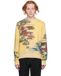 Dunhill Yellow Abstract Florals Sweater