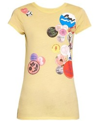 Badges print cotton jersey t shirt medium 400432