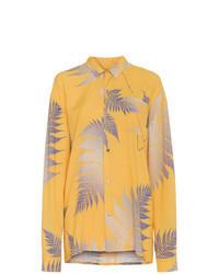 Yellow Print Dress Shirt