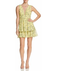 Aqua Tiered Floral Fit And Flare Dress 100%