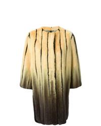 Fendi Striped Fur Cocoon Coat