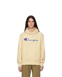 Champion Reverse Weave Beige Small Script Logo Hoodie