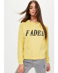 Petite yellow graphic print hoodie medium 6720930