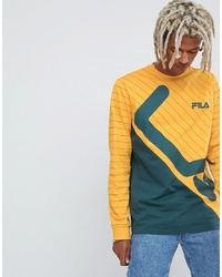 Fila Black Line Harrison Striped Panel Long Sleeve T Shirt In Yellow