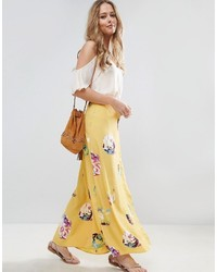 Asos Wrap Maxi Skirt In Floral Print