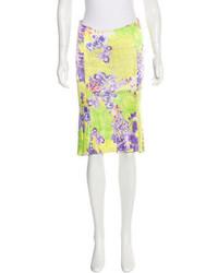 Versace Floral Print Knee Length Skirt