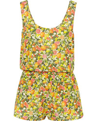 Stella McCartney Printed Cotton And Silk Blend Playsuit Yellow