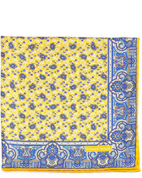 Edward armah small paisley print silk pocket square yellow medium 254280