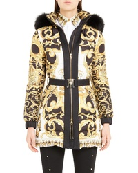 Versace Stamp Print Genuine Fox Quilted Coat