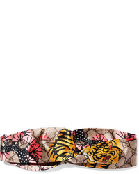 Gucci Twisted Printed Silk Satin Headband Yellow