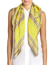 Versace Baroque Print Silk Satin Scarfgrey Yellow