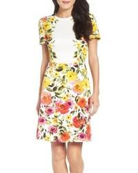Yellow Print Sheath Dress