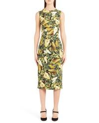 Dolce & Gabbana Pear Print Cady Sheath Dress