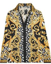 Versace Printed Silk Twill Shirt Yellow