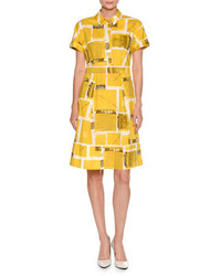 Square print short sleeve a line dress yellow medium 3725574
