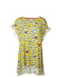 Yellow Print Short Sleeve Blouse