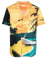 Balmain Beach Print Cotton Shirt