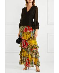 Etro Ruffled Printed Silk Chiffon Maxi Skirt