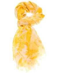 Yellow Print Silk Scarf