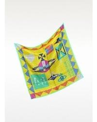 Beads silk print square scarf medium 74051