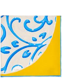 Kiton Coral Print Pocket Square Yellowblue