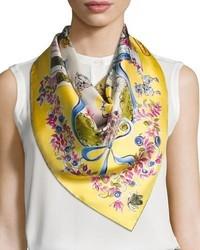 Salvatore Ferragamo Estro Printed Silk Satin Scarf Yellow