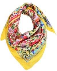 Dolce & Gabbana Flower Printed Silk Twill Square Scarf