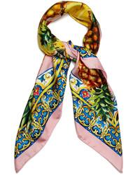 Dolce & Gabbana Majolica And Pineapple Print Silk Scarf