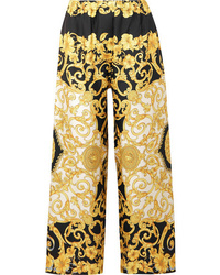 Versace Printed Cropped Silk Charmeuse Wide Leg Pants