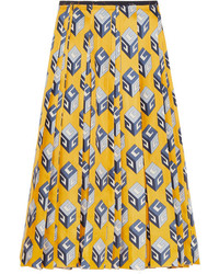Gucci Pleated Printed Silk Twill Midi Skirt Yellow