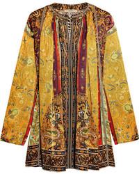 Etro Printed Silk Satin Twill Tunic Yellow