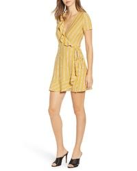 Speechless Stripe Ruffle Wrap Dress