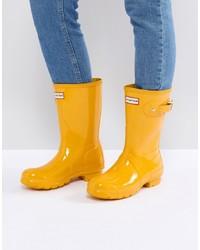 Hunter Original Short Gloss Wellington Boot In Yellow