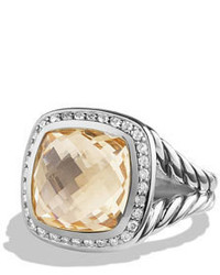 David Yurman 11mm Albion Faceted Citrine Ring Wdiamonds